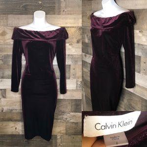 Calvin Klein Wine Velvet Off the Shoulder Dress